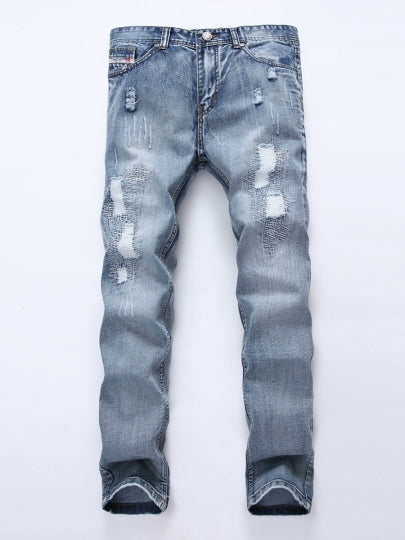 Casual Men's Fashion Jeans Mid Waist Hole Worn Slim Fit