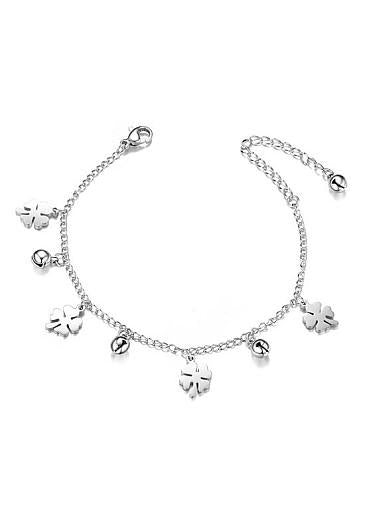 Fashion Four Leaf Clover and Bell, Steel Color Titanium Steel Bracelet