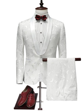 One Button Slim White Men's Dress Suit Notched Collar Printed