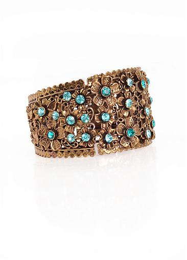Popular Bracelets With Stuning Blue Rhinestones Fantastic Vintage Gold Alloy