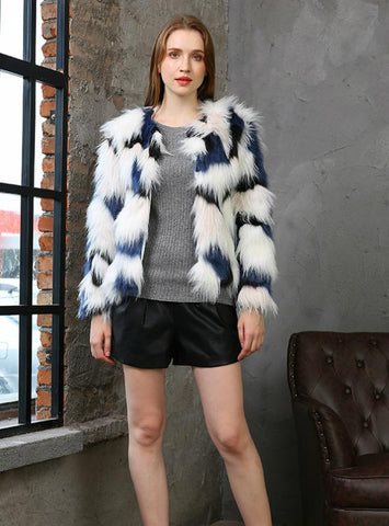 Colorful Thickened Round Neck Winter Fur Coat