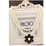 Flower Pendant Women's Necklace Double Layers Pearl