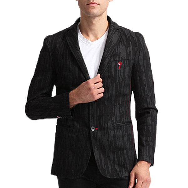 Cotton Printing Blazers for Men Black Casual Business Suits