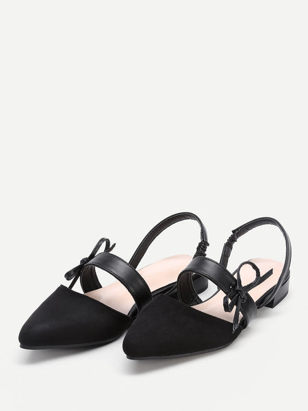 Cheap Point Toe Flats With Bow