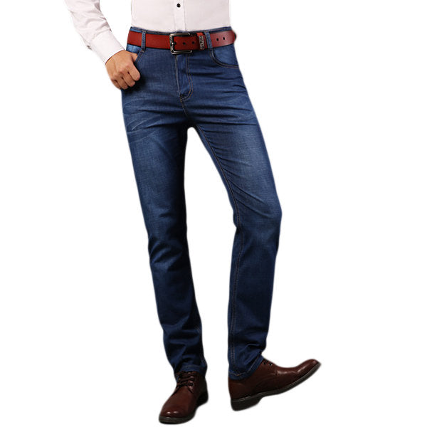 Cotton Breathable Long Jeans for Men High Elastic Slim Straight Leg