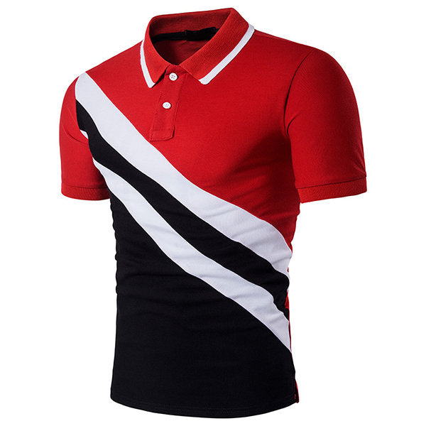 Stripe Printing Short Sleeve Polo Shirt Mens Cotton Casual Diagonal