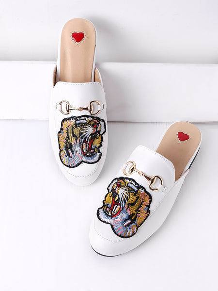 Cheap Tiger Embroidery Metal Detail Flat Mules
