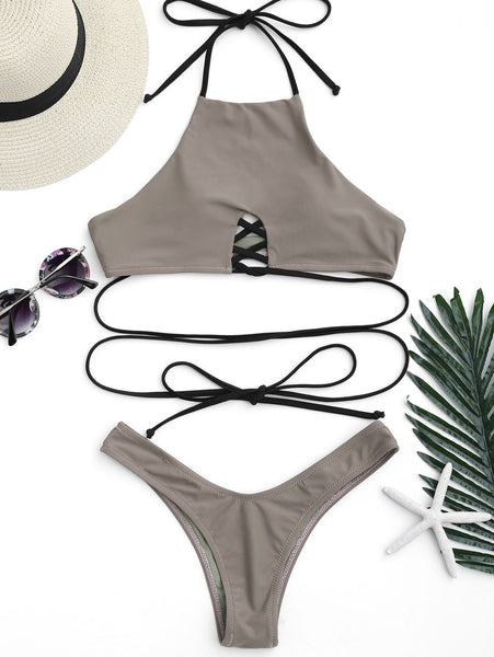 High Cut Halter Lace Up Thong Bikini