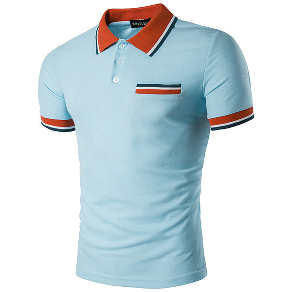 Shirt Short Sleeve Spring Summer Casual Tops Mens Contrast Color Front Pocket Lapel Polo