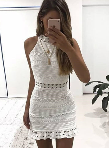 Hollow Out Lace Dress Women Elegant Sleeveless