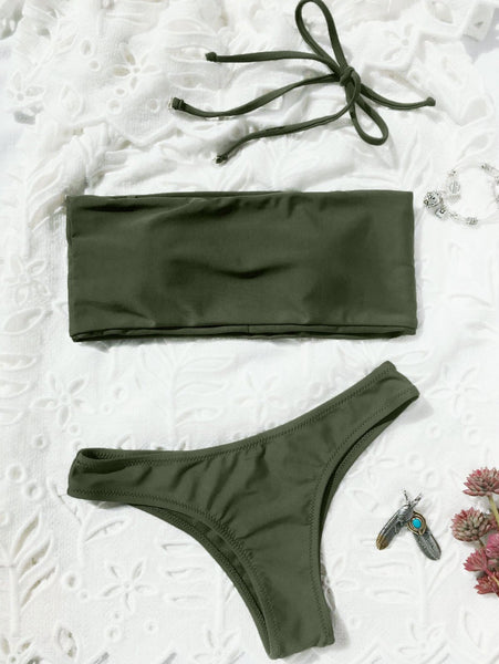 High Cut Bandeau Thong Bathing Suit