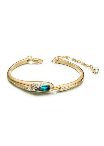 Cheap Micro Pave Zirconia Wing with Sky Blue Austrian Crystal Gold Plated Alloy Bracelet
