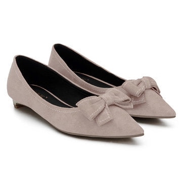 Cheap Nude Bowknot Pointed Toe Suede Flat Shoes
