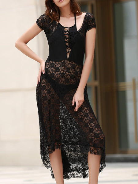 Scoop Neck Fit and Flare Lace Dress