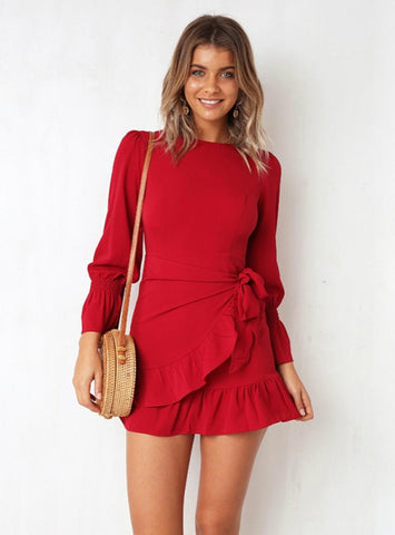 Slim Fit Strapping Long Sleeve Mini Dress