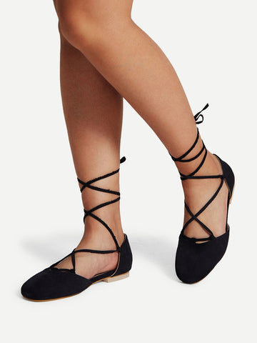 Cheap Pointed Toe Lace Up Flats