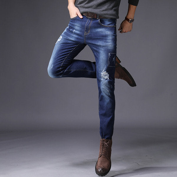 High Elastic Ripped Hole Jean Slim Fit Straight
