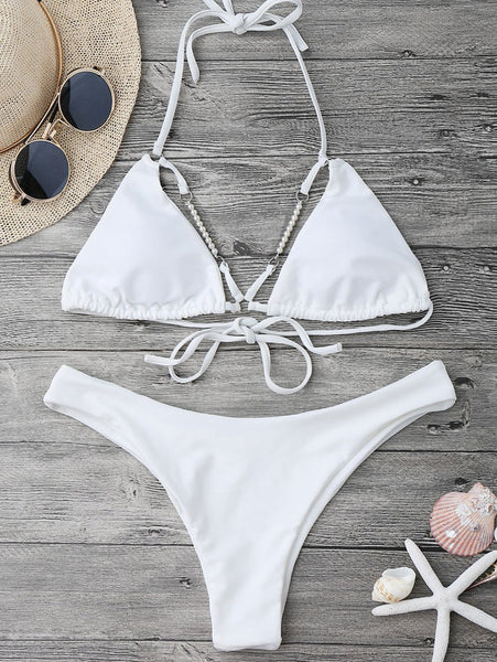 Halterneck High Cut Bikini Set With Beads