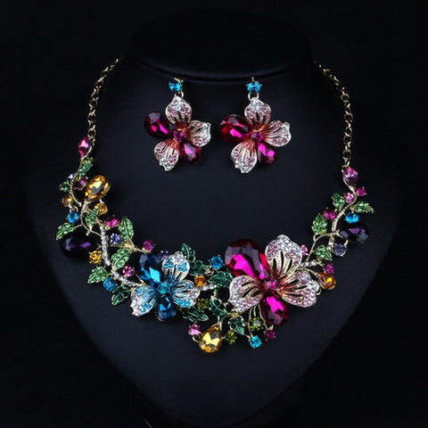 Cheap Faux Crystal Flower Necklace and Earrings