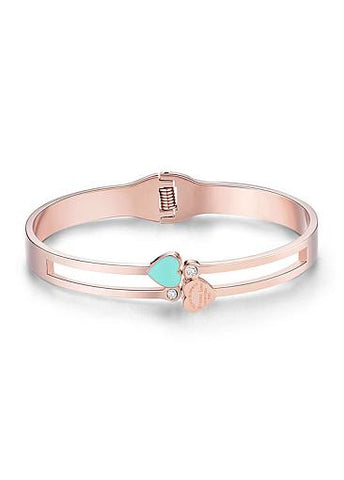 Cheap Enamel Heart and Zircon Titanium Steel Bangle