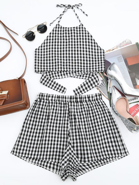 Halter Checked Top and Shorts Set