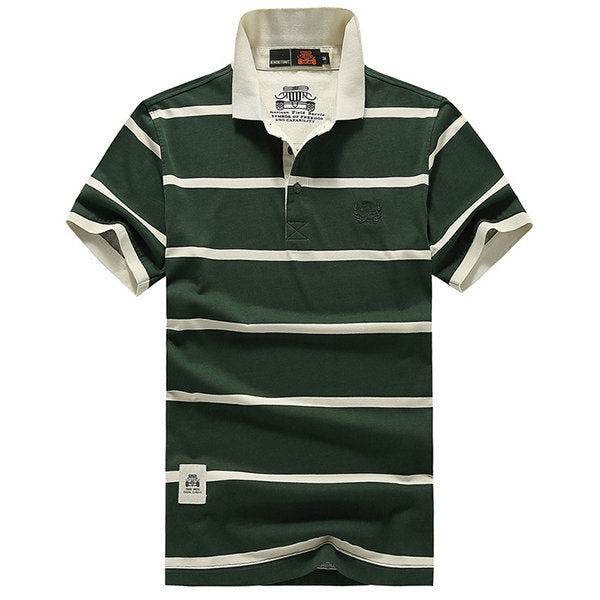 Short Sleeve Turn-down Collar Casual Cotton Polo Shirt Mens Summer Striped Printed