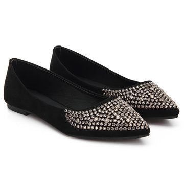 Fathion Black Diamond-studded Suede Flat Shoes