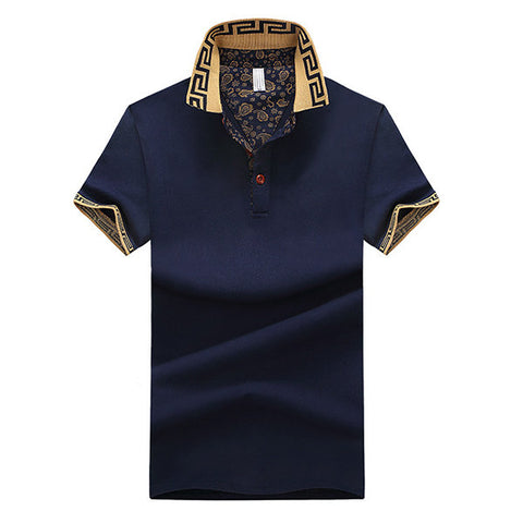 Short Sleeve Spring Summer Casual Tops Mens Stylish Polo Shirt Printed Collar