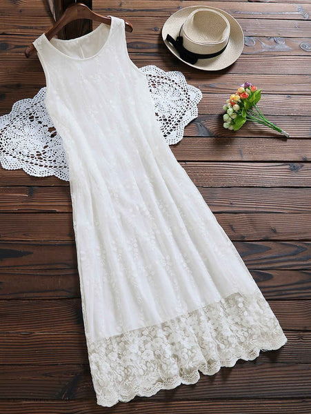 Sleeveless Tulle Lace Maxi Dress