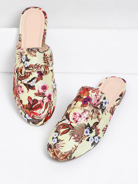 Cheap Flower Print Flat Mules