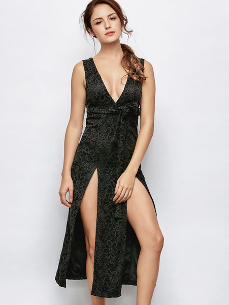 Low Cut Lace Plunge Empire Waist Prom Dress
