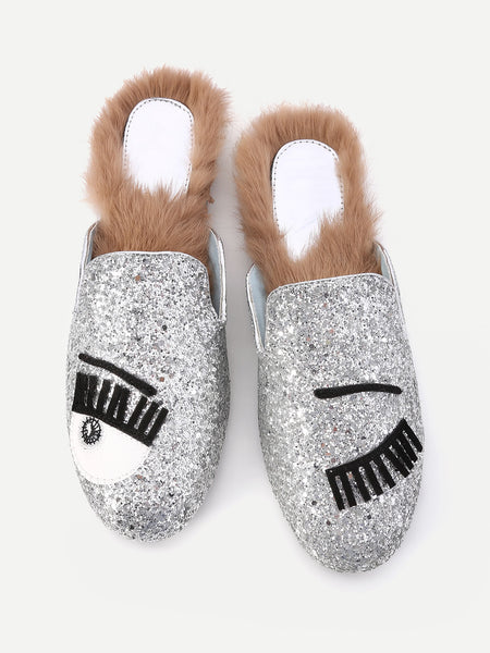 Fashion Eyelash Pattern Glitter Flat Mules With Faux Fur