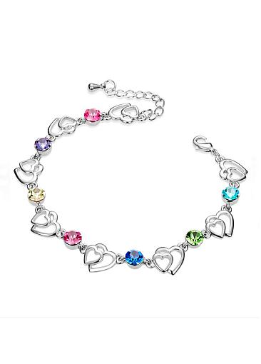 Pretty Hearts with Multicolor Austrian Crystals, Platinum Plated Bracelet