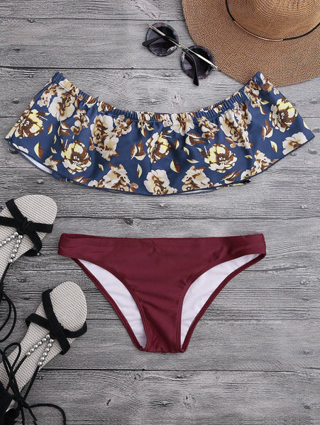 Off The Shoulder Overlay Floral Bikini