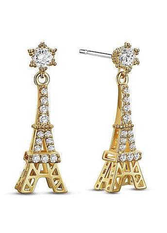 Hot Sale Micro Pave AAA Zirconia Tower, Golden 18K Gold Plated Stud Earrings