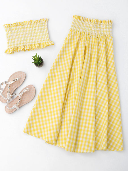 Ruffles Smocked Tube Top and Checked A-Line Maxi Skirt