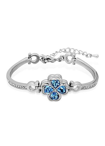 Hot Sale Austria Crystal Four-Leaf Clover Findings Platinum Plated Bracelet with Aquamarine