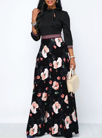 THREE QUARTER SLEEVE FLORAL PRINT ETHNIC SUMMER STYLE DRESS