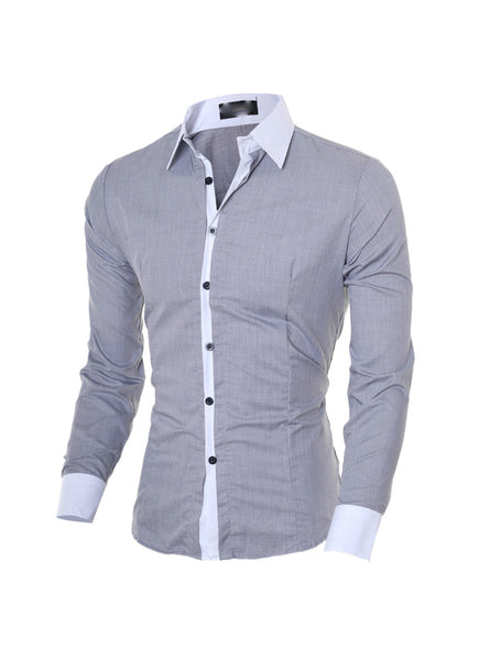 Shirts for Men Fashion Casual Stitching Slim Fit Designer