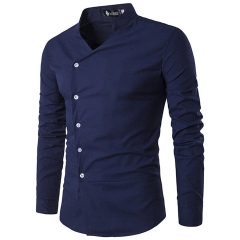 Stand Collar Designer Shirts for Men Casual Fashion Oblique Asymmetric