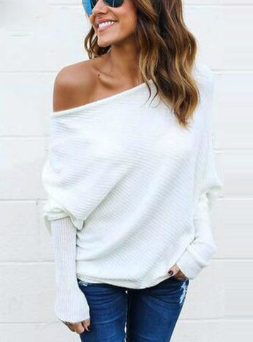 Long Sleeve Knitted Sweater Sexy Off Shoulder Sweater