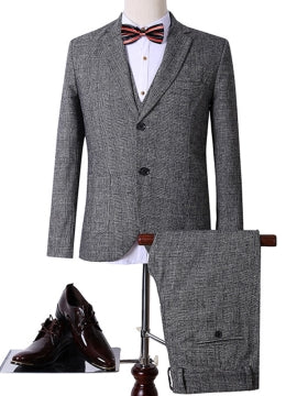 Formal Men's Work Suit with Cotton Blends Fabric