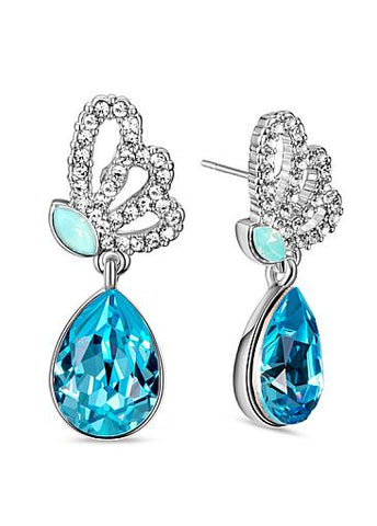 Micro Pave AAA Zircon Butterfly with Blue Austrian Crystal Platinum Plated Stud Earrings