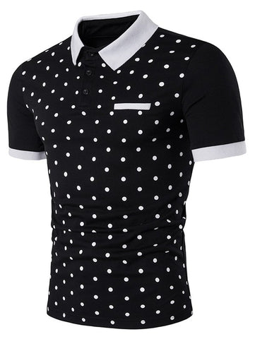 Formal Edging Short Sleeve Polka Dot Print Polo T-Shirt