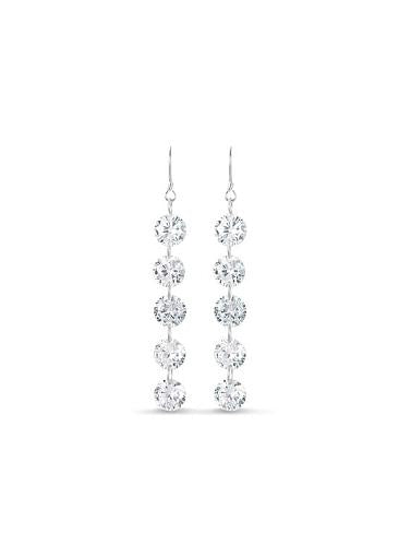 AAA Zircons, Silve Sterling Silver Hook Earrings