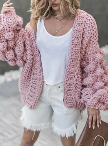Women Lantern Sleeve Cardigan Open Front Sweater Coat