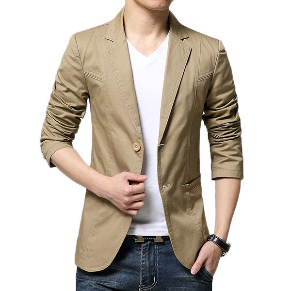 Casual Cool Solid Color Slim Blazers Suits for Men Spring Korean Style Fashion
