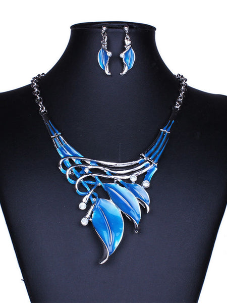 Cheap Classic Color Leaves Necklace Earrings Set