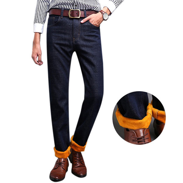 Slim Denim Straight Leg Mid-Waist Jean for Men Casual Business Thicken Cotton