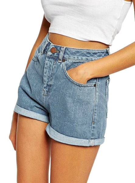 Brand Trendy Slim Casual Plus Size Womens High Waist Shorts
